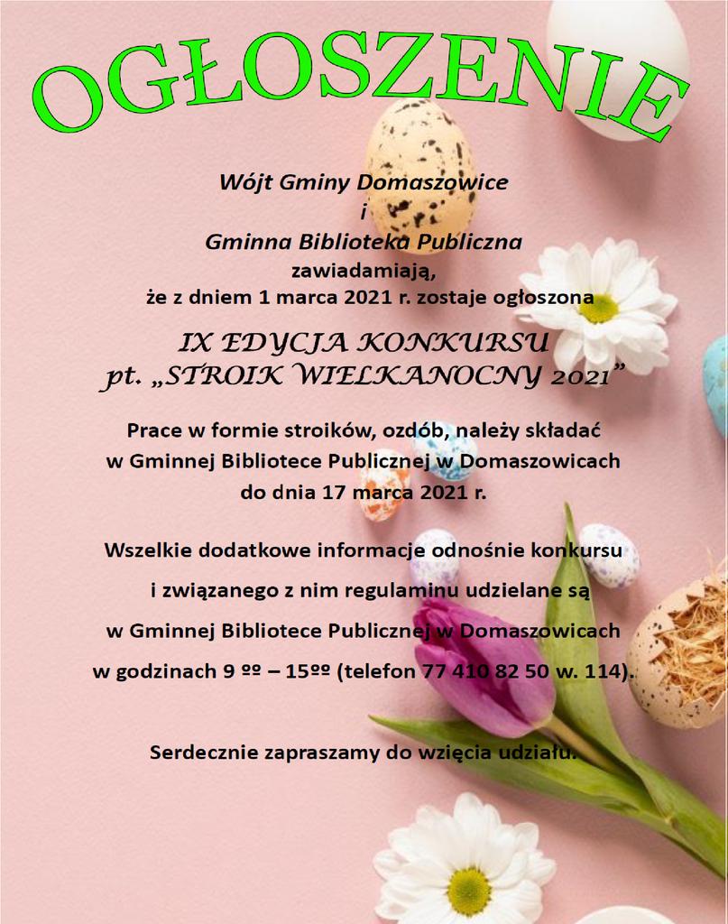 Ogłoszenie o konkursie Stroik Wielkanocny.png