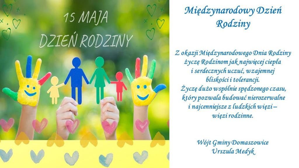 Grafika przedstawia ręce dzieci  z napisem 15 maja Dzień rodziny