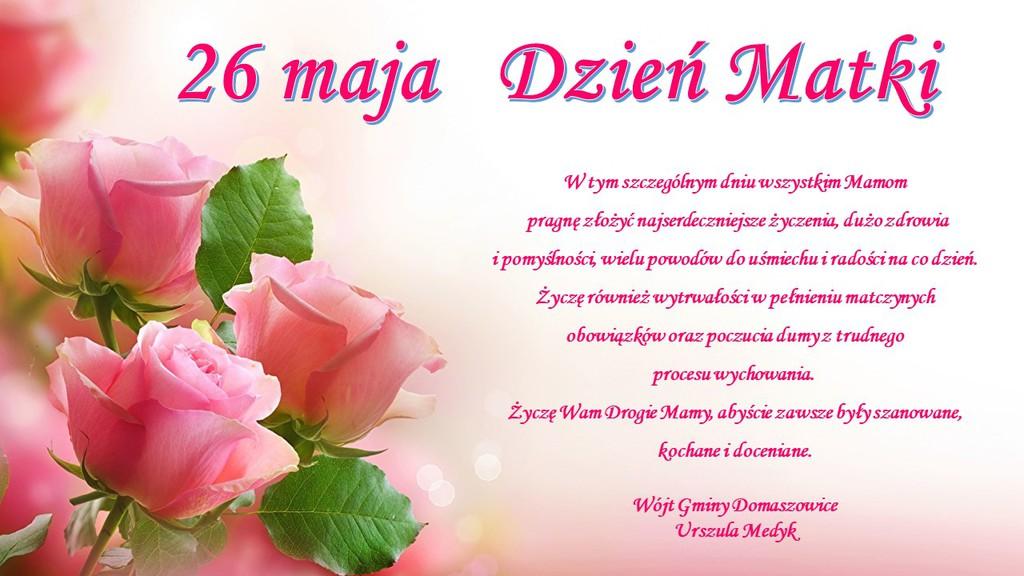 Na grafice różowe róże na tle rozpływającej się dalszej części bukietu róż oraz tekst z życzeniami jak w treści artykułu.