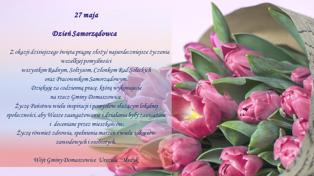 Grafika przedstawia zdjęcie kwiatów na których Wójt Gminy Domaszowice składa życzenia z okazji Dnia Samorządowca jak w tekście artykułu.
