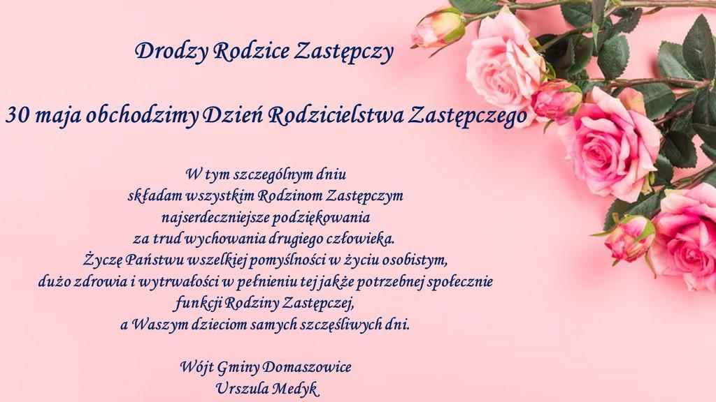 Grafika przedstawia kwiaty Wójt Gminy Domaszowice składa życzenia z okazji Dnia Rodzicielstwa Zastępczego jak w tekście artykułu.