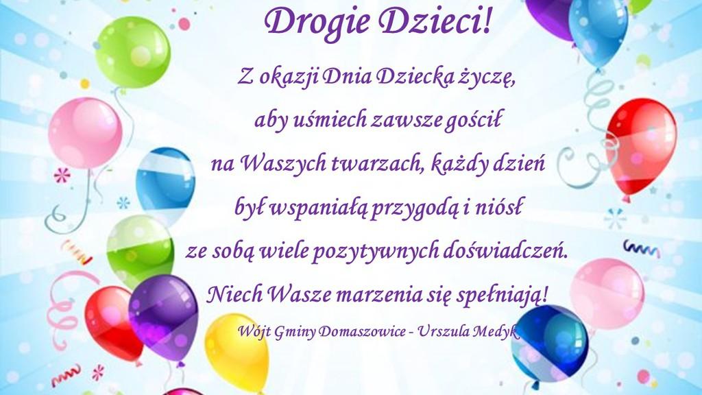 Grafika przedstawia kolorowe balony na których Wójt Gminy Domaszowice Urszula Medyk składa życzenia dla dzieci z okazji Dnia Dziecka. Tekst życzeń jak w tekście artykułu.