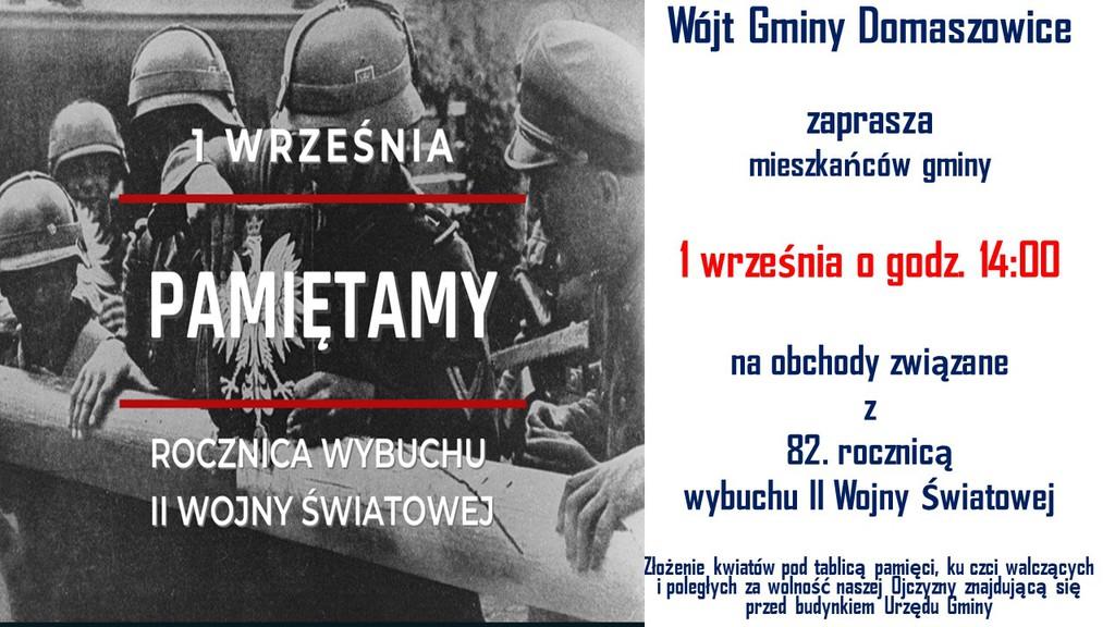 Zaproszenie na obchody wybuchu II Wojny Światowej jak w tekście artykułu na tle zdjęcia z wyłamywanym szlabanem po ataku na Polskę.