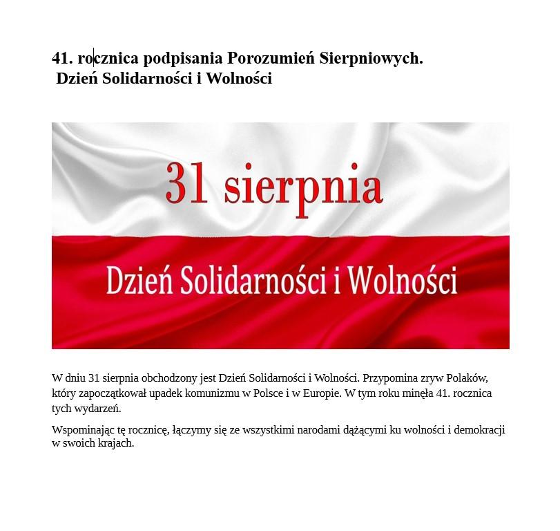Zdjęcie przedstawia flagę biało-czerwoną z napisem 31 sierpnia Dzień Solidarności i Wolności.
