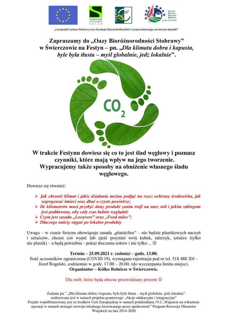 Plakat - Festyn Dla klimatu, dobra i kapusta, byle była tłusta – myśl globalnie, jedz lokalnie.jpeg